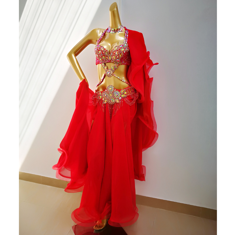 Top Quality New Women Belly Dance Costume Set Showgirl Belly Dancing Clothes EDC Halloween Bellydance Bra&belt&skirt 4pcs Suit