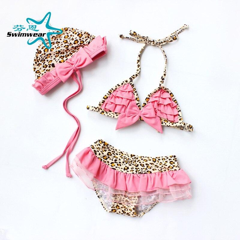 Loli Cute Leopord Pattern Lace KID'S Swimwear GIRL'S Bikini Infant Baby Swim Bathing Suit Swimwear With Cap