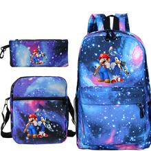 Super Mario Sonic podróżny plecak na laptopa Unisex plecak chłopcy dziewczęta szkolne torby z torbą na ramię piórnik plecak dla dzieci tanie tanio Gryan Płótno Tłoczenie Miękka 20-35 litr Wnętrze slot kieszeń Wnętrza przedziału Miękki uchwyt NONE zipper Łukowaty pasek na ramię
