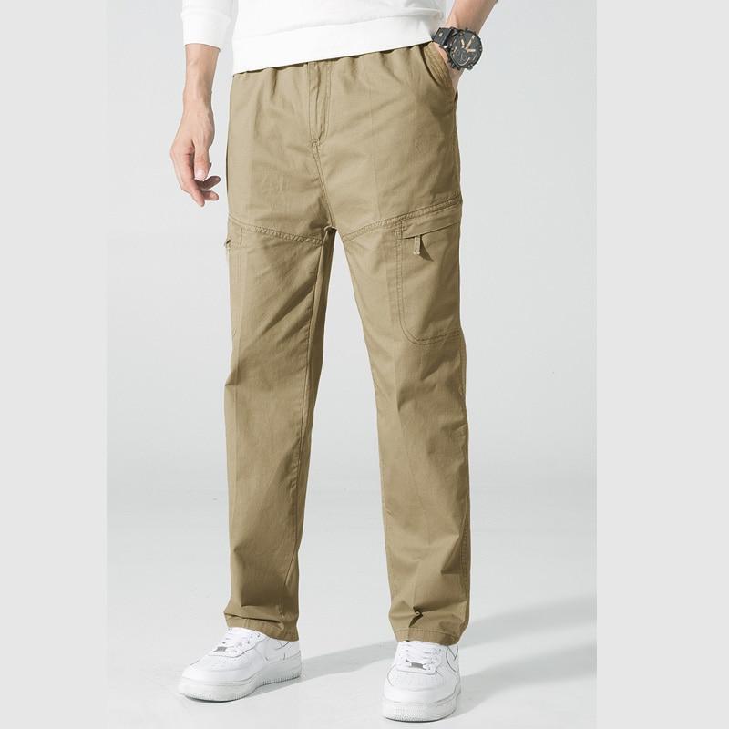 Casual Summer Men Pants Fashion Cotton Long Pants Straight Joggers Men's Elasticity Plus Size 6XL Slim Fat Trousers Male Bottom