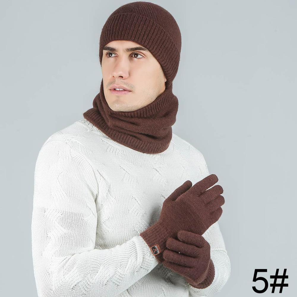 Evrfelan модный мужской женский зимний комплект шапка и шарф и наборы перчаток для мужчин вязаный плотный теплый комплект из 3 предметов аксессуары в стиле унисекс - Цвет: coffee