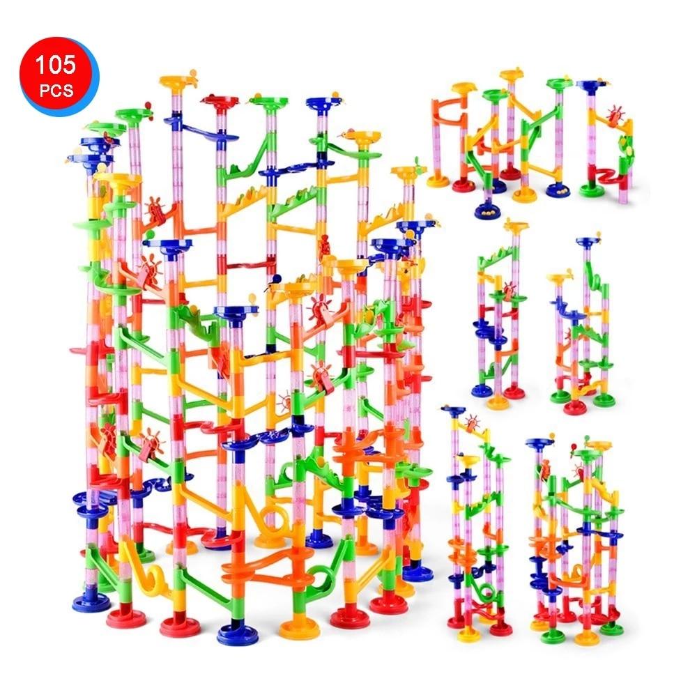 105 Pcs/Set Marble Tracks Preschool Educational Toys Baby Circuit Marble Race Run Maze Children Building Pipe Blocks Kids Gifts