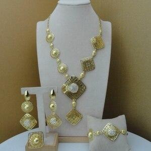 Image 1 - Yuminglai 2019  Fashion Dubai Luxury Jewelry Set Three Color Plated Gold Lady Jewelry Sets FHK8533