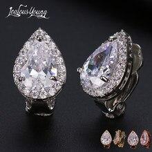 Moda gruszka Cubic cyrkon klipsy z Shinning krystaliczne białe złoto kolor Ear Cuff ślubne kolczyki ślubne biżuteria Aretes