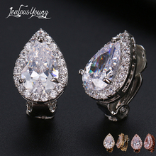 Fashion Pear Cubic Zircon Clip Earrings with Shinning Crystal White Gold Color Ear Cuff Bridal Wedding Earrings Jewelry Aretes