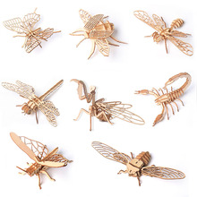 цена 1PC Baby Toys Montessori 3D Puzzle DIY Wooden Puzzle Insect Animal Handmade Educational Assembly Toys Gifts for Children онлайн в 2017 году