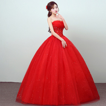 Robe De Mariee 2020 Feerijt Vintage Red Sexy Strapless Sleeveless Wedding Dress Beautiful Lace Flower Shining Beaded Bride Gown