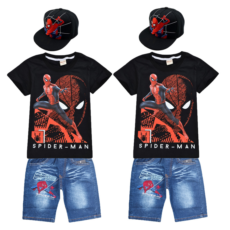 Boys Short Sleeve Spider Man T Shirt+short Pant And Hat 3pc Sport Sets Summer Children's Clothing Kids New Summer Clothes Suits