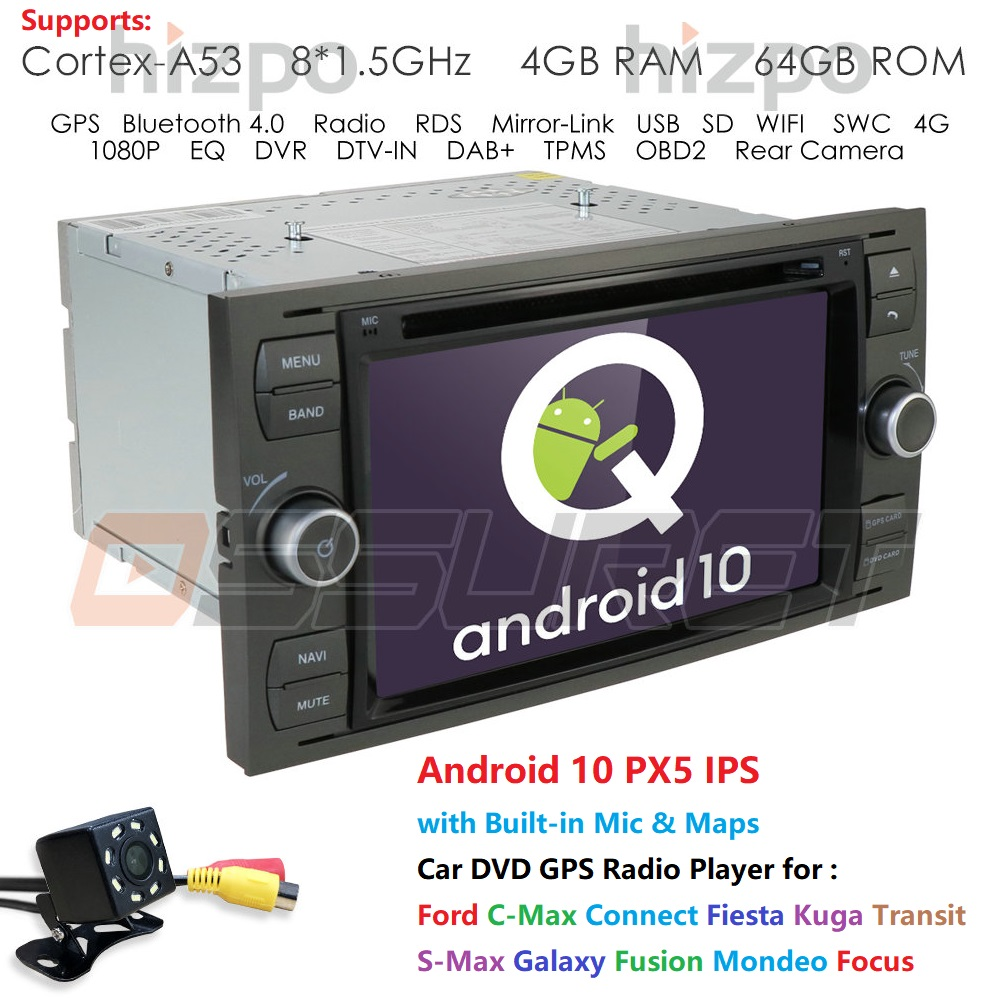 DSP IPS Car DVD Player 2 Din Android 10 GPS In Dash For Ford Transit Focus Connect S-MAX Kuga Mondeo car radio multimedia Wifi image