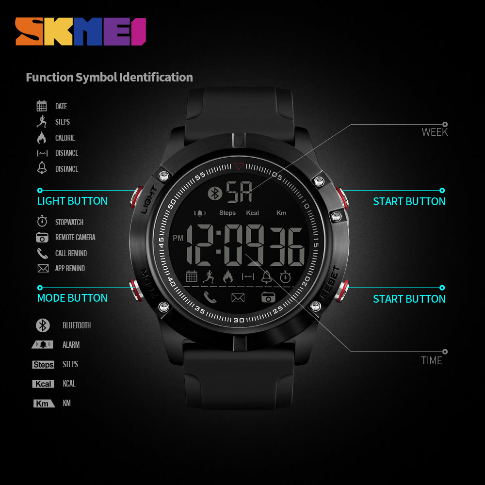 SKMEI Men Smartwatch Intelligent Relogio Masculino Military Sports Watches Bluetooth Pedometer Smart Wristwatch For Android IOS in Smart Watches from Consumer Electronics