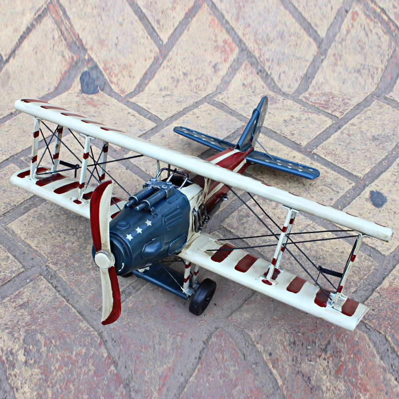 World War I Airplane Model American Flag Fighter Airplane Biplane Decoration Military Fighter Model Creative Toys for Children
