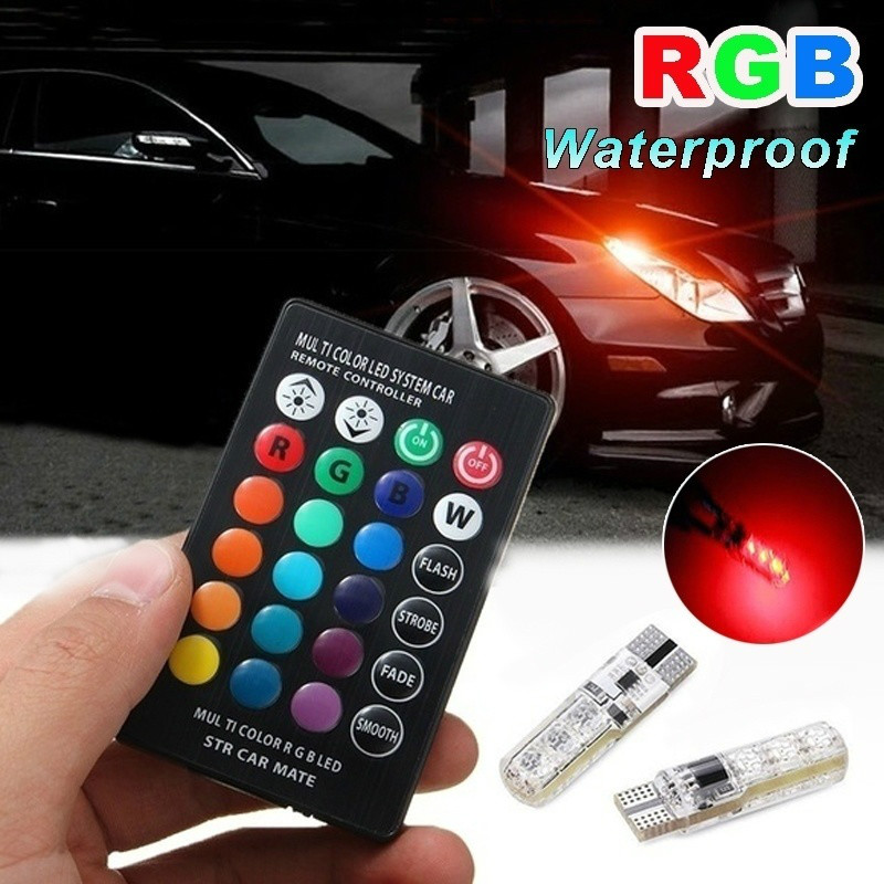 2PCS 7 Color Waterproof Strobe Light T10 RGB 5050 6SMD Car Wedge Side LED Light Bulb With LED Remote Control (NO Battery)