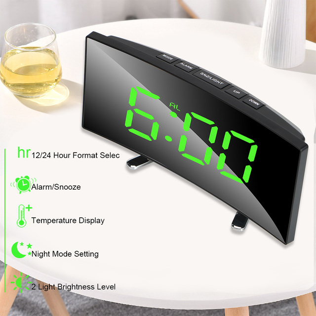 7 Inch For Kids Bedroom Curved Dimmable Mirror Clock LED Screen Digital Alarm Clock Home Decors Large Number Table Clock 2