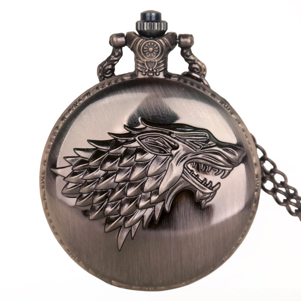 Game Of Thrones Stark House Symbol Vintage Pocket Watch Necklace Pendant Quartz Pocket Watches Gifts For Men Women