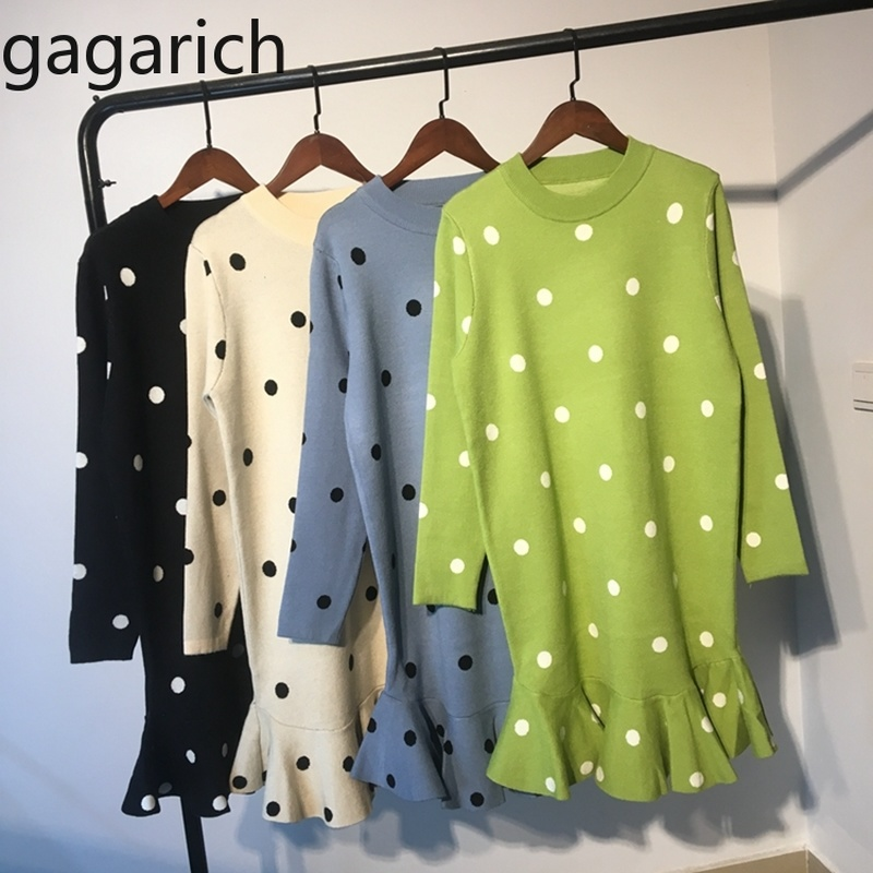 Gagarich Sweater Women 2019 New Knitted O-Neck Full Dot Long Fishtail Loose Casual Spring Autumn Korean Version Female Pullover