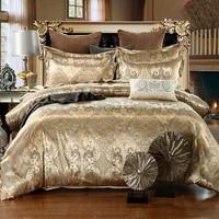 Bedding Set Luxury European Jacquard Quilt Cover Pillowcase Macchiato Rose Gold Multi size Home Comforter Bedding Package