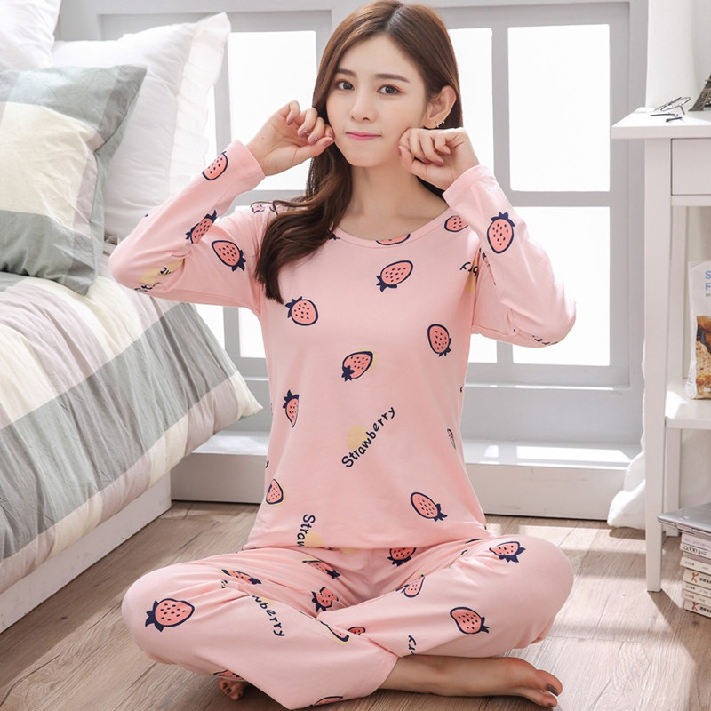 Autumn Cartoon Printed Sleepwear Set Long Sleeve Cotton Women Pajama Set Soft  Casual Homewear O-Neck Pijama Mujer Trousers