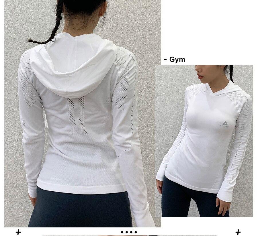 capuz exercício esporte camisa das mulheres magro