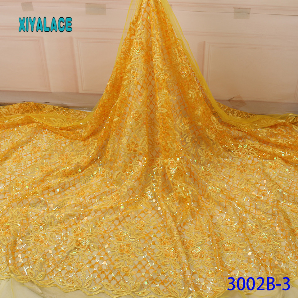 African Lace Fabric Yellow 2019 High Quality Latest French Advanced Sequins Lace Dress Lace Fabric For Fashion Party YA3002B-3