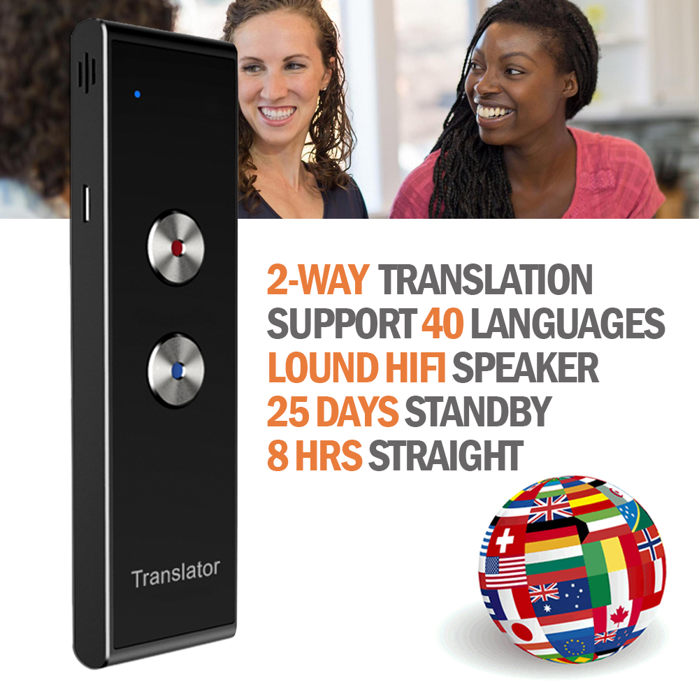 Portable Multi Language Voice Translator T8 Real Time Instant Two-Way 40 Languages Translation for Travel Shopping Learning