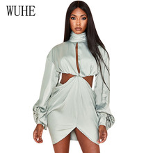 WUHE High Collar Puff Sleeves Bare Backless Irregular Hip Dress Women Hollow Out Sexy Elegant Short Ladies Night Clubwear