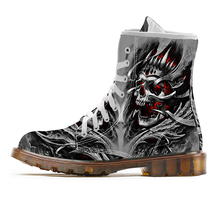Cool Skull Print Boots for Men Motorcycle Boots Mid Calf Boo