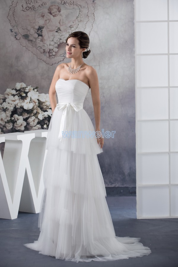 Free Shipping 2014 Hilti New Design Custom Size Bridal Gown Handmade Bow Sweetheart Plus Size White Chiffon Bridesmaid Dresses