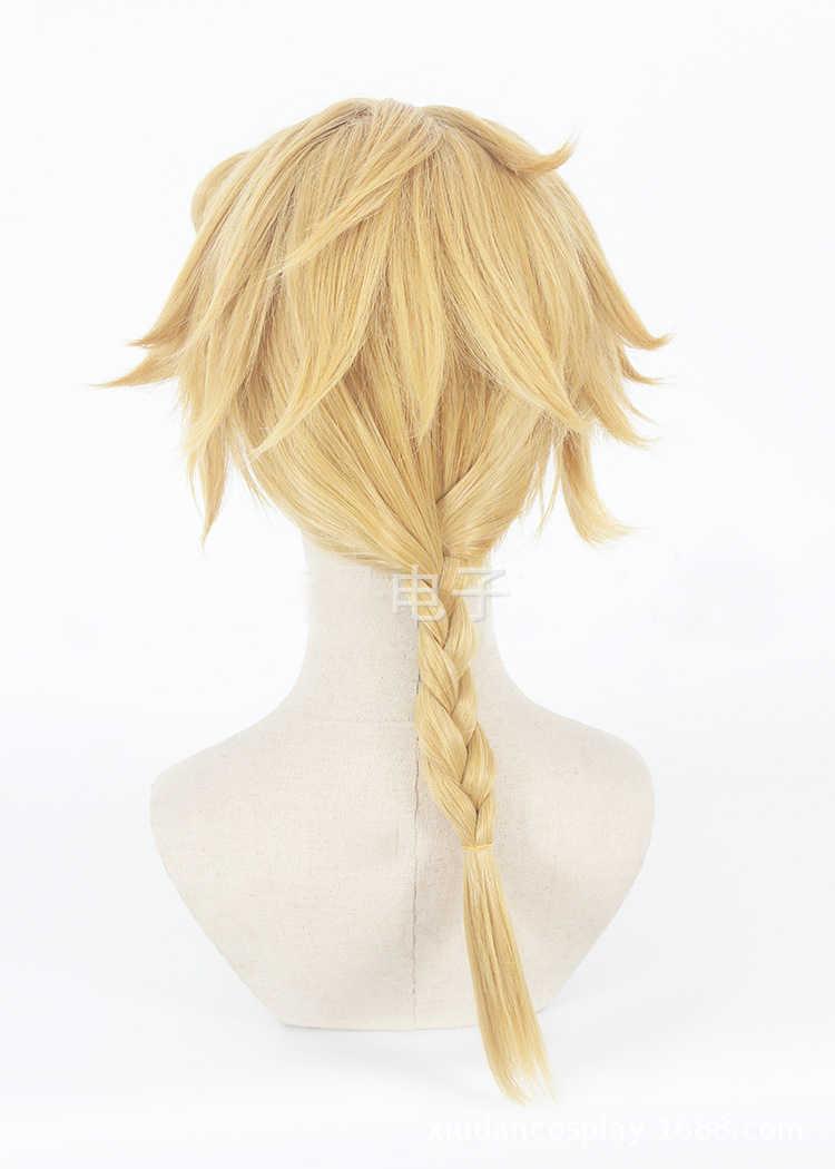 JoJo невероятное приключение Giorno Giovanna золотой парик синтетические плетеные волосы Косплэй волос, способный преодолевать Броды для взрослых ролевых игр на Хэллоуин GIOGIO