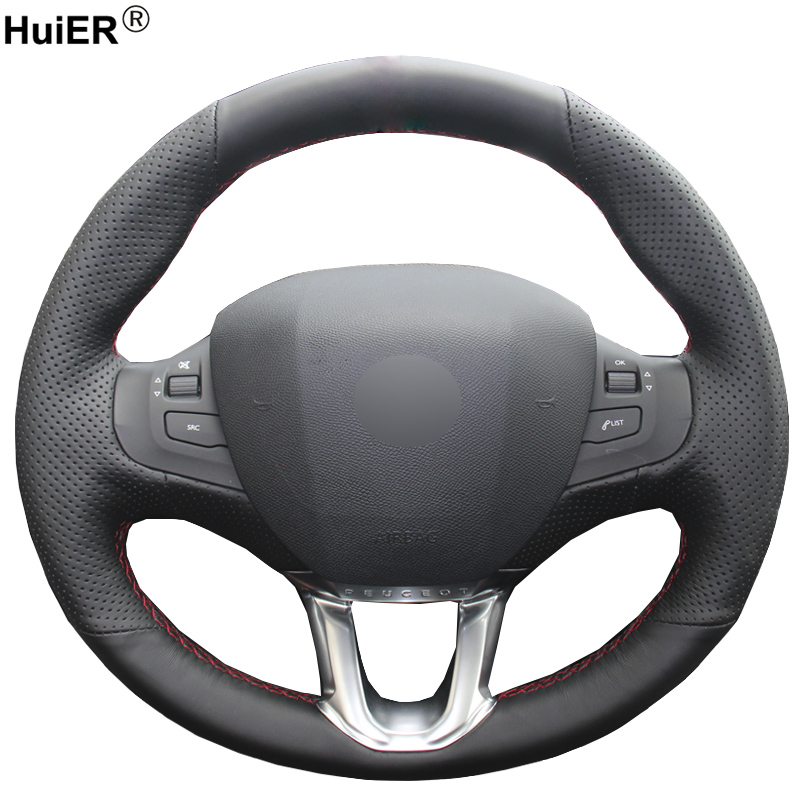 HuiER Hand Sew Car Steering Wheel Cover Black Leather For Peugeot 208 Peugeot 2008 Breathable Steering-wheel Auto Accessorie image