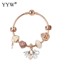 Luxury Pandora Bracelet Glass Beads Charm Bracelets For Women Rose Gold Color Pulsera Mujer Bransoletki Armband Bileklik Jewelry(China)