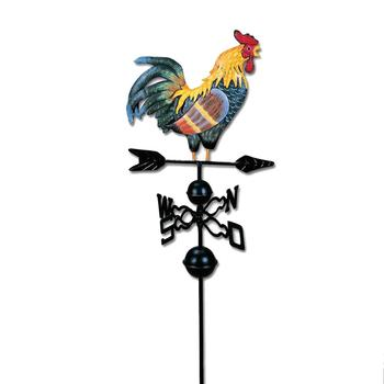 130cm Colorful Painted Cock Weather Vane Iron Rooster Wind Vane Roof Mount Weathervane Wind Garden Oranment Decoration