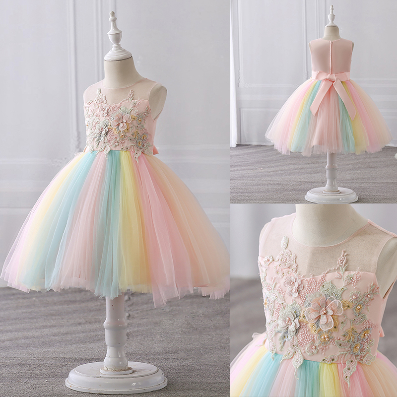 Fancy Floral Beading Unicorn Dress Princess Halloween Carnival Ball Gown Children Christmas Party Clothing Kids Dresses for Girl