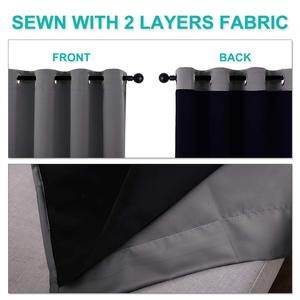 Image 2 - NICETOWN 1PC Double layer Full Blackout Curtains Super Thick Insulated Complete Blackout Draperies with Black Liner For Living