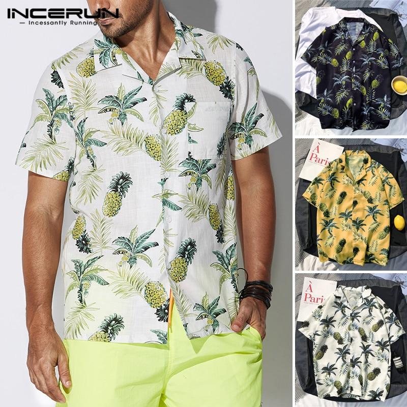 INCERUN Male Clothes Beach Vacation Camisa Tropical Shirts Hombre Mens Shirts Dress Short Sleeve Lapel Button Down Tops Big 5XL7
