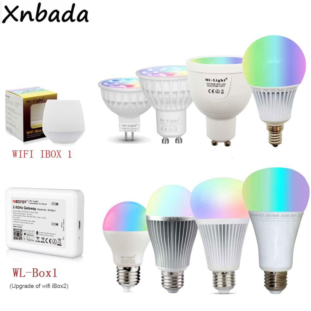 Mi Light Dimmable MR16 GU10 E14 E27 4W 5W 6W 9W 12W Led Bulb Spotlight,2.4G RF CCT/RGBW/RGBWW/RGB+CCT Led Lamp