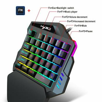 Ergonomic Mechanical Keyboard Mouse LED Combo Colorful Backlight One-Handed Wired Gaming Keyboards 5500DPI PC Gamer Set 6