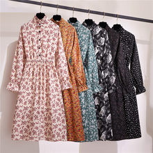 Women's Chiffon Dress 2020 New Stand Collar Long Sleeve Autumn Casual Korean Dress Retro Floral Loose Summer Clothing(China)
