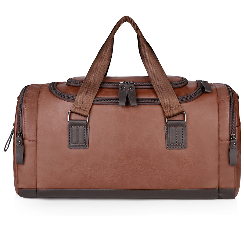 Luxury PU Leather Duffel Bag Outdoor Travel Bags with Multiple Compartments Men Waterproof Gym Bag for Weekend Dropshipping
