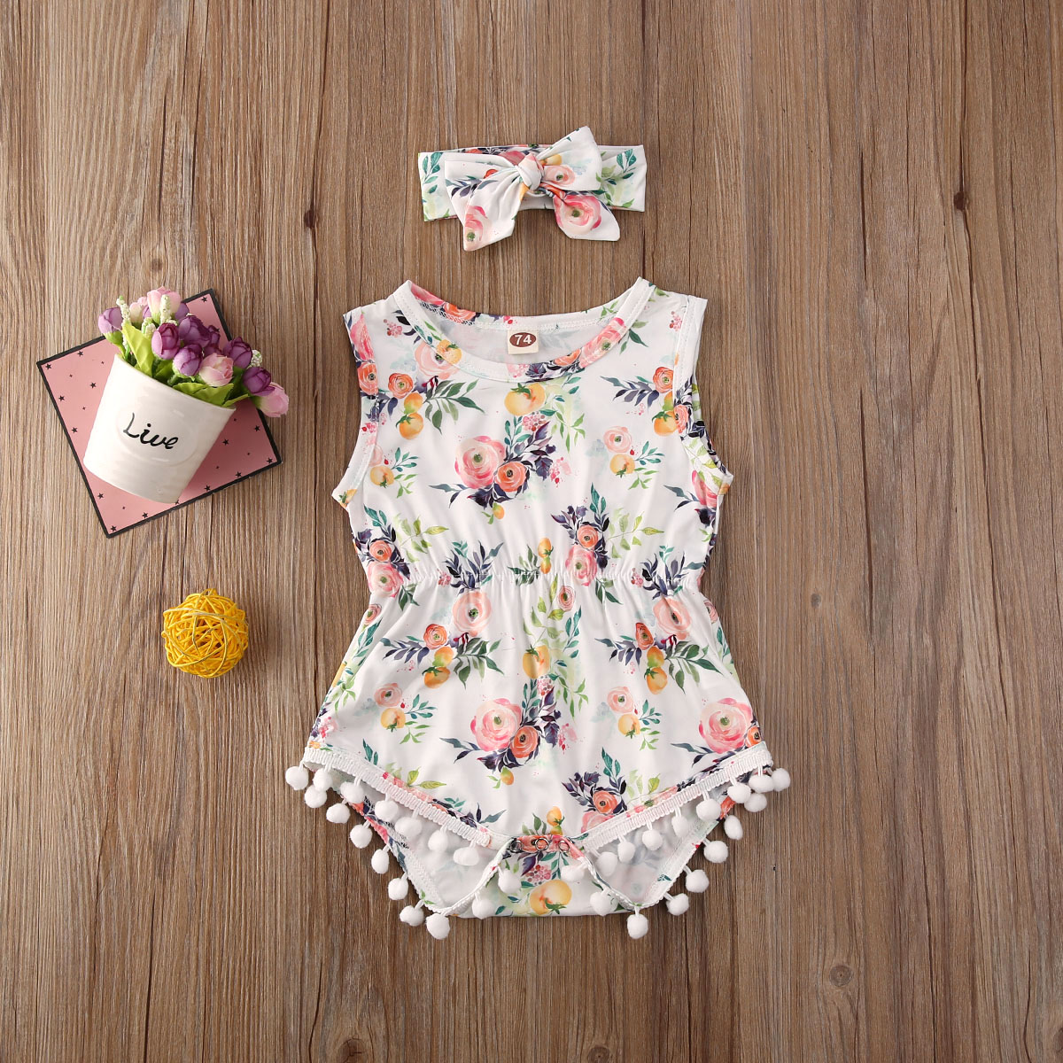 Pudcoco Newborn Baby Girl Clothes Flower Print Sleeveless Tassel Romper Jumpsuit Headband 2Pcs Outfits Cotton Clothes Set