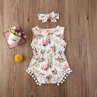 Pudcoco Newborn Baby Girl Clothes Flower Print Sleeveless Tassel Romper Jumpsuit Headband 2Pcs Outfits Cotton Clothes Set