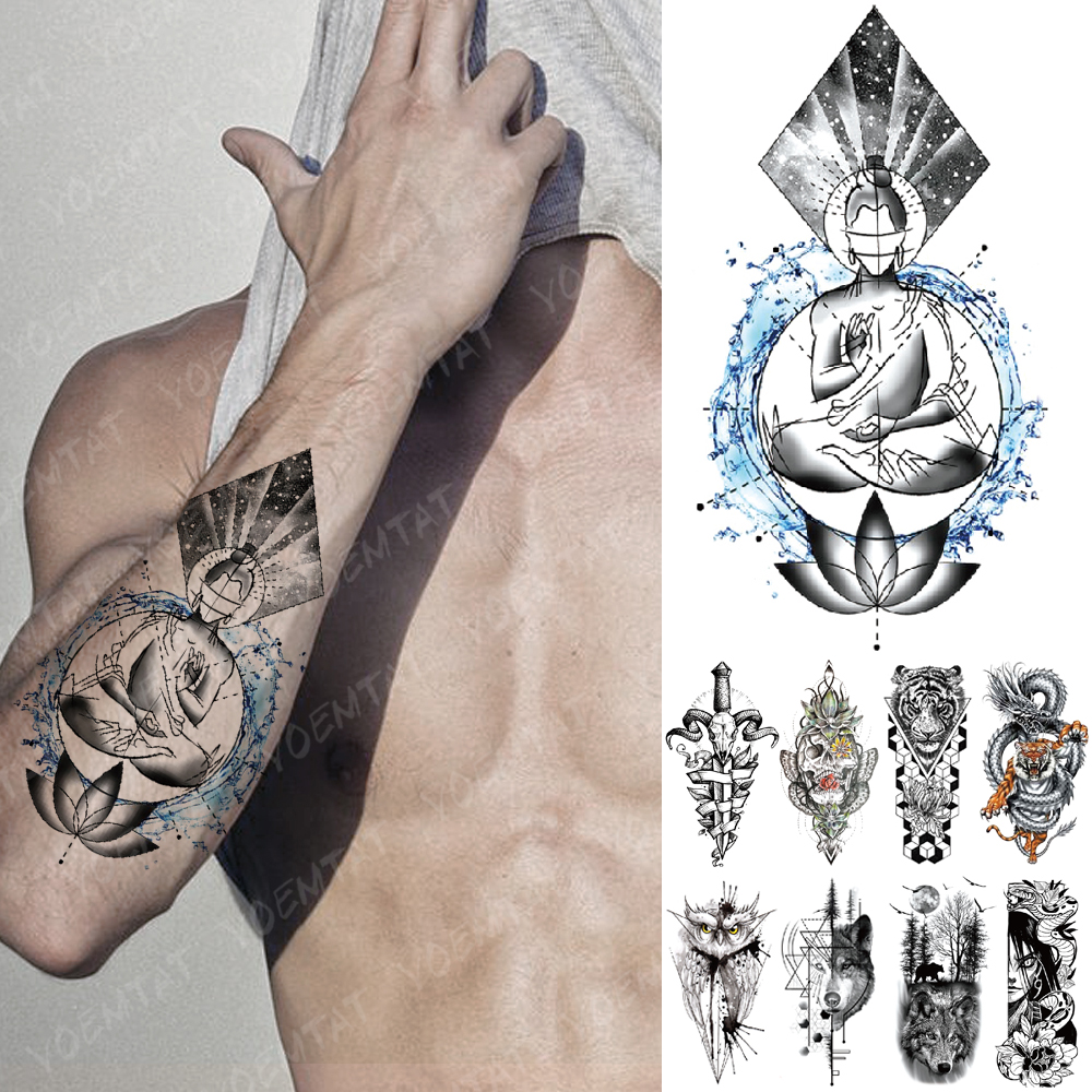 Waterproof Temporary Tattoo Sticker Lotus Wisdom Ocean Buddha Shakyamuni Flash Tatto Wolf Lion Body Art Arm Fake Tatoo Women Men