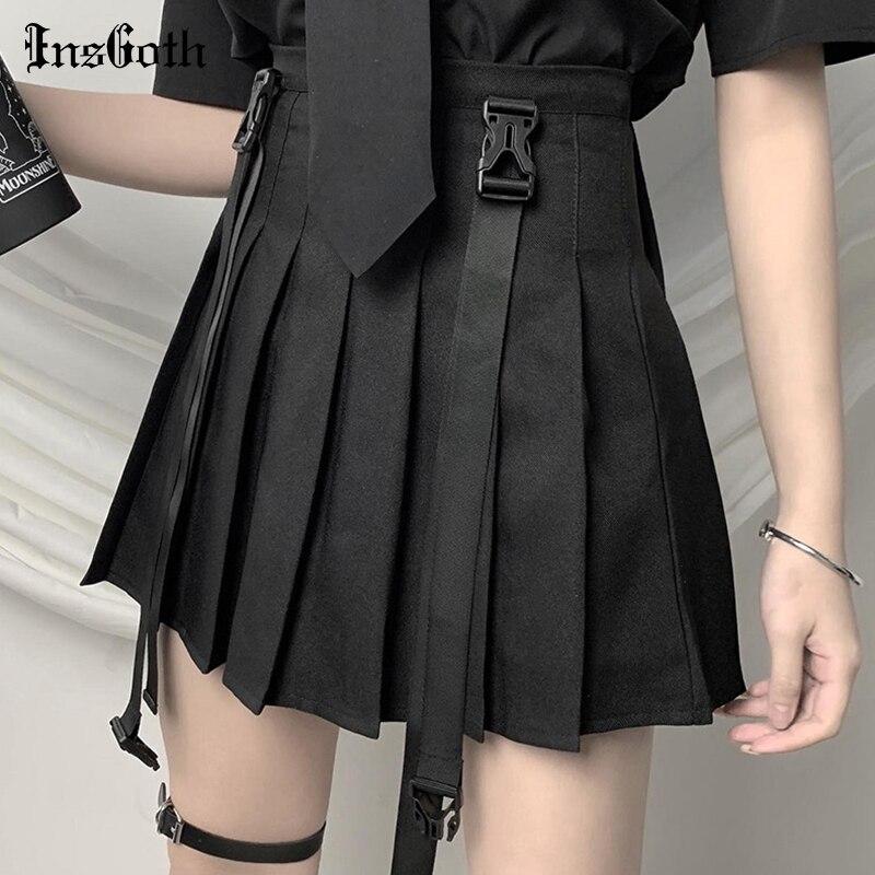 InsGoth уличная одежда черные футболки женские Harajuku панк тройники готические сексуальные открытые кроп топы Летняя мода|Юбки|   | АлиЭкспресс