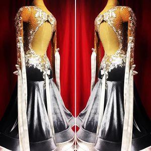 Image 2 - Nuovo concorso sala da ballo vestito da ballo backless sala da ballo standard vestito da ballo della concorrenza costume di ballo モダンダンスドレス colore nero