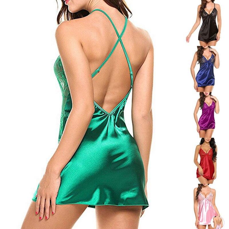 2020 сексуальная ночная рубашка, Дамское Белье, ночное белье, модная женская шелковая атласная ночная рубашка, платье Babydoll, кружевное Сетчато...