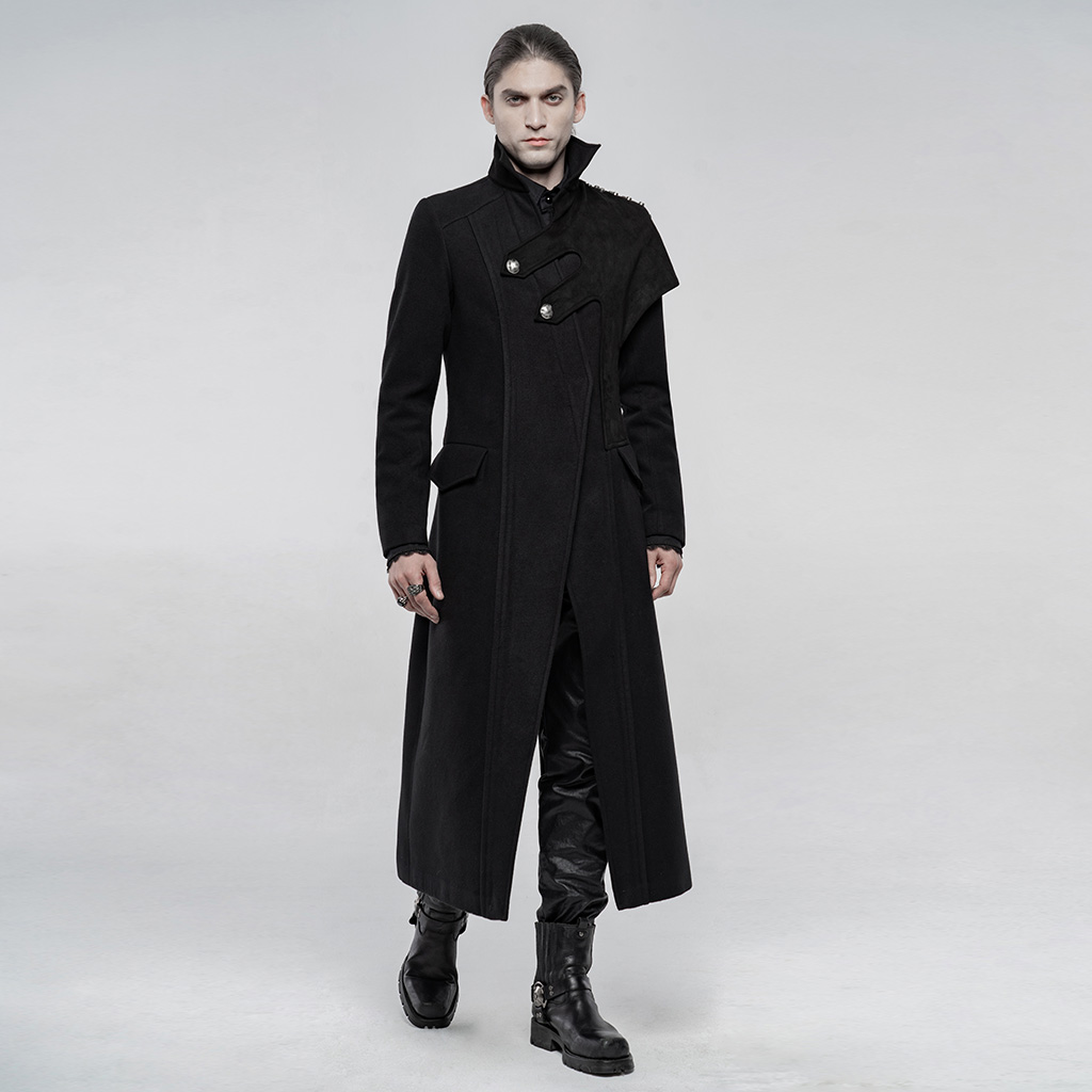 PUNKRAVE Men's Punk Woolen Long Coat Style Military Uniform Handsome Asymmetric Shoulder Winter Keep Warm Daily Jacket