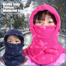 Childrens bib head cover double thick cold winter warm hat kids school windproof wrap autumn and childrens