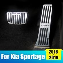 Aluminium Car Accelerator Pedals Brake Pedal Set Covers Rest Foot Cover For Kia Sportage 2016 2017 2018 2019 Accessories