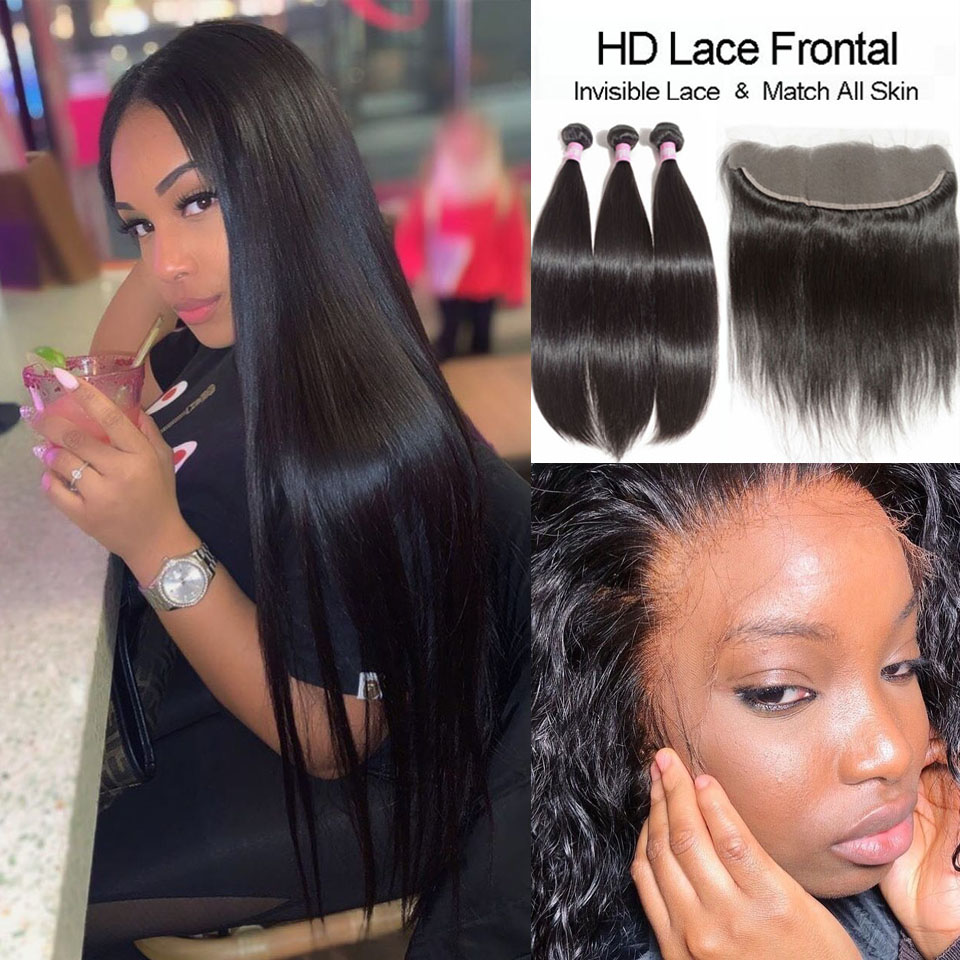 Straight Bundles With HD Frontal Peruvian HD Lace Frontal And Bundles HD Transparent Lace Frontal Closure With Human Virgin Hair