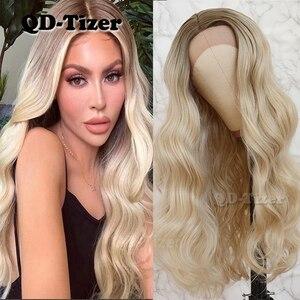 Image 1 - QD Tizer שיער תחרה מול פאת בלונדינית Ombre שיער חום שורש טבעי Glueless סינטטי תחרה קדמית נשים