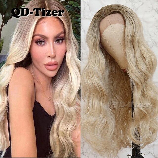 QD Tizer שיער תחרה מול פאת בלונדינית Ombre שיער חום שורש טבעי Glueless סינטטי תחרה קדמית נשים